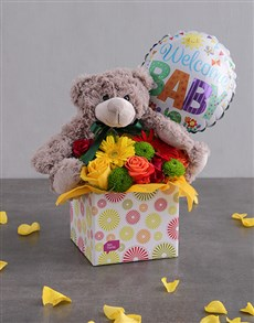 flowers: Welcome Baby Teddy & Balloon Box!