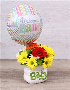 flowers: Welcome Baby Ceramic Baby Bag & Balloon!