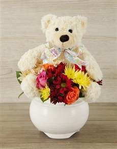 flowers: Teddy and Mixed Bloom Arrangement!