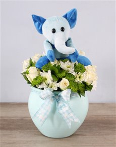 flowers: Blue Elephant Teddy and Rose Arrangement!