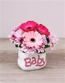 flowers: Pink Ceramic Baby Bag Arrangement!