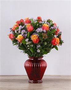 flowers: Cherry Brandy Roses in Red Urn Vase!