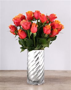 flowers: Cherry Brandy Roses in a Twirl Vase!