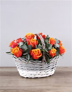 flowers: Cherry Brandy Roses in Grey White Basket!