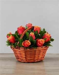 flowers: Cherry Brandy Roses in Woven Basket!