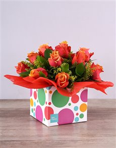 flowers: Cherry Brandy Roses in Funky Box!