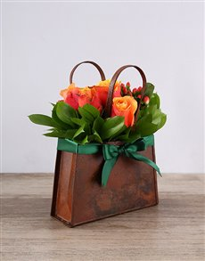 flowers: Metal Handbag of Cherry Brandy Roses!