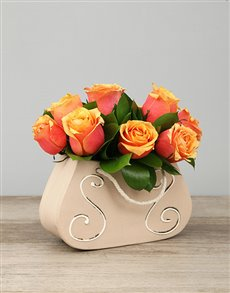flowers: Ceramic Handbag of Cherry Brandy Roses!
