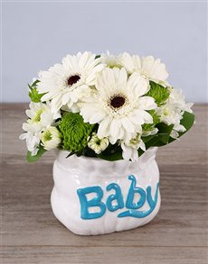 flowers: Pure White Ceramic Baby Bag Arrangement!