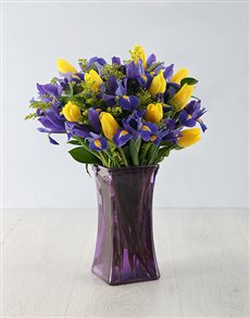 flowers: Dazzling Iris and Tulip Arrangement!