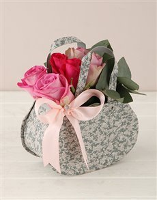 flowers: Pink and Lilac Roses Steel Handbag!