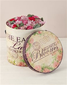 flowers: Pink Roses and Sprays Floral Hatbox!
