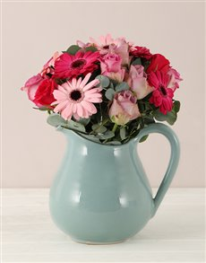 flowers: Flower Arrangement in a Vintage Pitcher!
