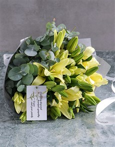 flowers: White Asiflorum Lily Sympathy Bouquet!