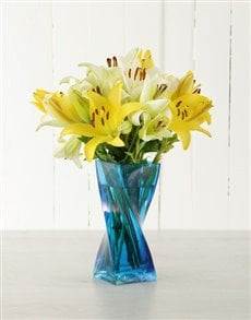 flowers: Asiflorum Lilies in Blue Twisty Vase!