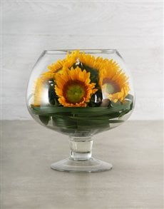 flowers: Green Button Sunflower & Leriopi Display!