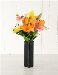 flowers: Sunset Asiflorum Lily Vase!