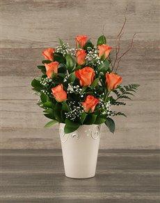 flowers: Orange Rose Pot!