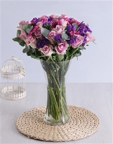 flowers: Roses & Sprays in Clear Flair Vase!