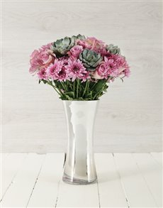 flowers: Roses & Succulents in Silver Flair Vase!