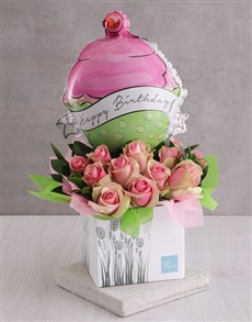 flowers: Happy Birthday Pink Rose and Cupcake Balloon Box!