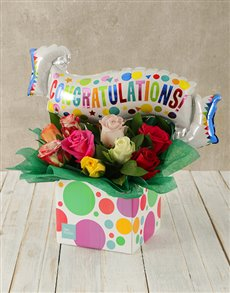 flowers: Congratulations Mixed Rose and Balloon Box!