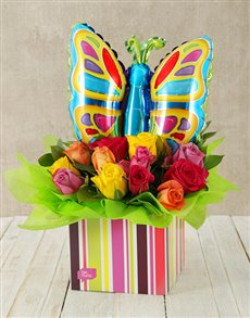 flowers: Mixed Rose and Butterfly Balloon Box!