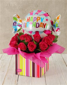 flowers: Happy Birthday Cerise Rose and Sweety Balloon Box!
