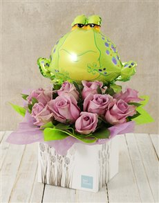 flowers: Lilac Rose and Frog Balloon Box!