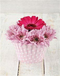 flowers: Pink Gerbera & Spray Cupcake !