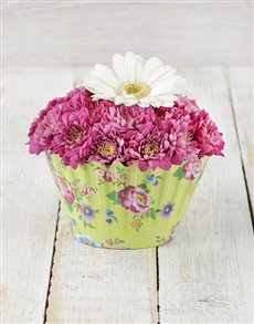 flowers: White and Lilac Gerbera & Spray Cupcake!