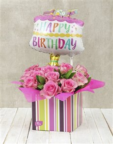 flowers: Happy Birthday Pink Rose and Cake Balloon Box!