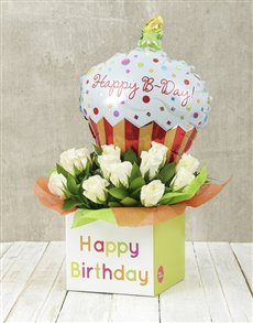 flowers: Happy Birthday White Rose and Cupcake Balloon Box!