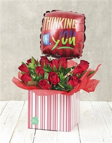 flowers: Thinking of You Red Rose and Balloon Box!