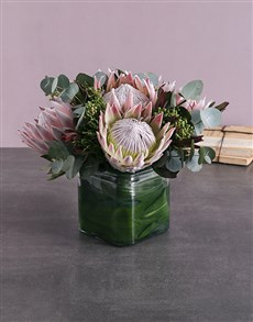 flowers: King Protea & Greens Vase!