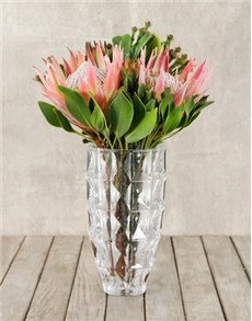 flowers: King Proteas & Greens in Crystal Vase!