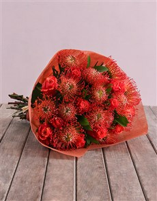flowers: Pincushion Protea & Rose Bouquet!