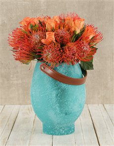 flowers: Pincushions and Roses in Turquoise Vase!