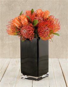 flowers: Pincushions & Roses in Black Square Vase!