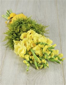 flowers: Yellow Gladiolus and Goldenrod Bouquet!