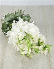 flowers: White Gladiolus and Mixed Greens Bouquet!