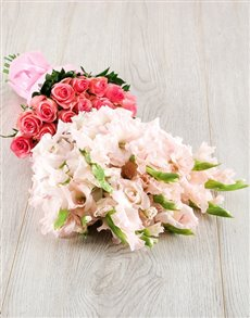 flowers: Light Pink Gladiolus and Rose Bouquet!