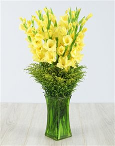 flowers: Yellow Gladiolus in Green Square Vase!