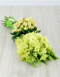 flowers: Green Gladiolus and Rose Bouquet!