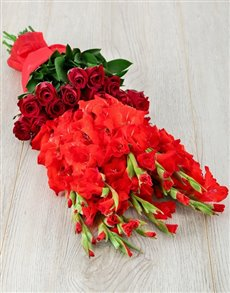 flowers: Red Gladiolus and Rose Bouquet!