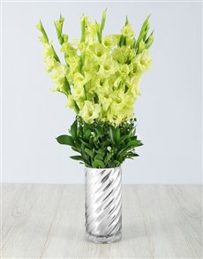 flowers: Green Gladiolus in a Silver Vase!