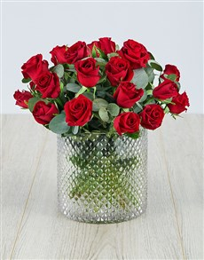 flowers: Red Roses in a Diamond Cylinder Vase!