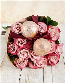 flowers: Variegated Pink Christmas Rose Bouquet!