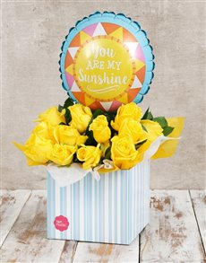 gifts: My Sunshine Balloon and Yellow Rose Box!