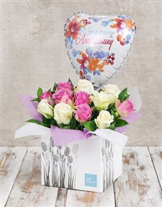 flowers: Anniversary Watercolour  Rose and Balloon Box!